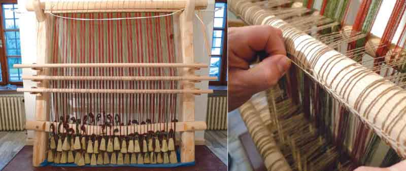 Researchers in Slovakia built a warp-weighted loom to weave a twill fabric like one that dates to between 800 and 400 B.C. found in the Hallstatt salt mines in Austria. Loom weights (left, shown dangling at the loom's base) hold the vertical threads taut.