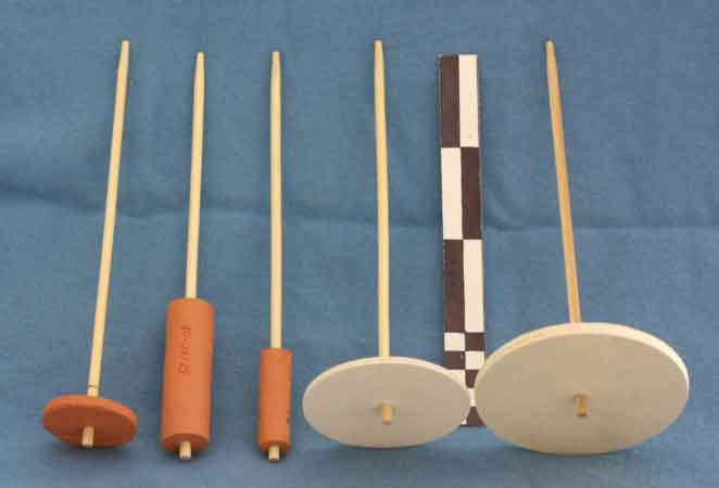 "Katrin Kania compared threads created with five different spindles. The middle spindle was the hardest to use, earning the nickname, ""spindle from hell."""