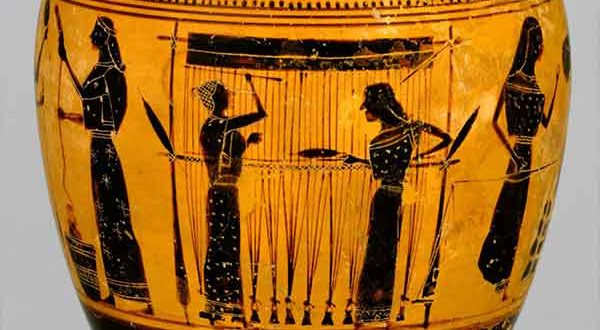 Ancient art depicting female textile workers, as on this Greek oil flask from about 550 B.C., supports the idea that spinning and weaving were primarily women's work.