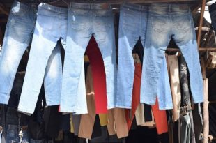 Second hand clothes on display at a stall in Toi Market in Nairobi.