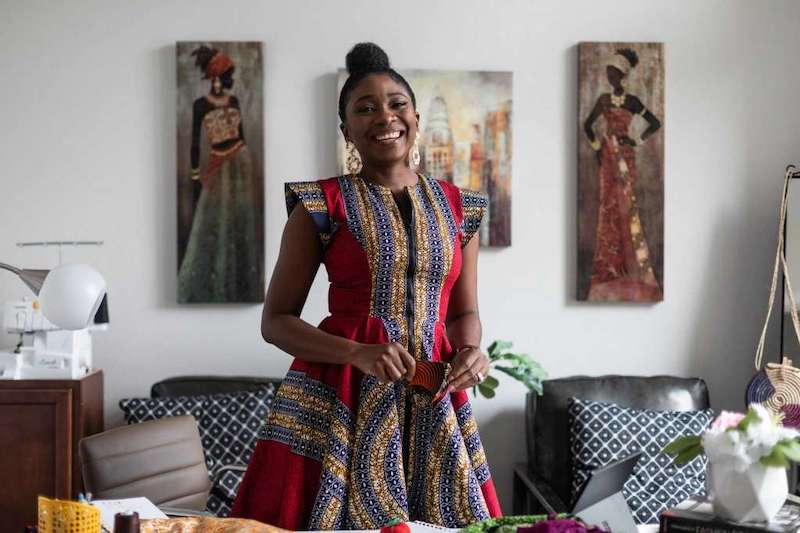 Designer Yetunde Olukoya, shown at her home office in Fulshear, estimates that about 80 percent of her customer base is African-American