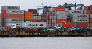 Maersk containers are seen at the Port of Santos Brazil