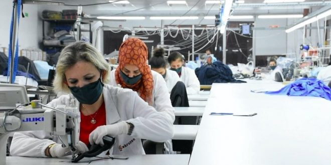 Employees work at the Ebruzen Textile company in the northwestern province of Bursa, Turkey